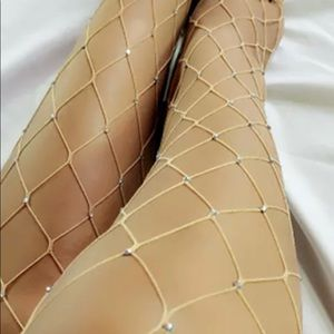 Accessories - Multi-color Glittery / Mesh Tan Fishnet Stockings